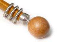 WOODEN BALL (HONEY) + SATIN SILVER CONNECTOR